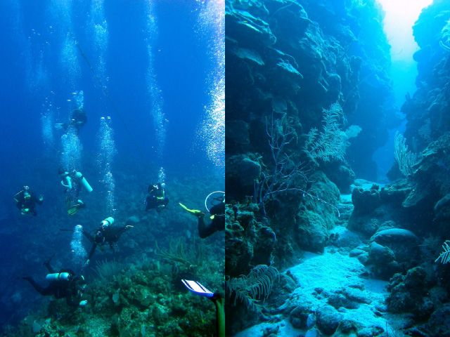 Divers swimming and large chasm