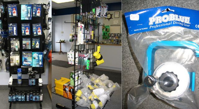 Shelf of products and diving gear