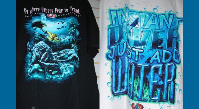 """Go Where Others Fear"" and ""Instant Diver"" shirts"