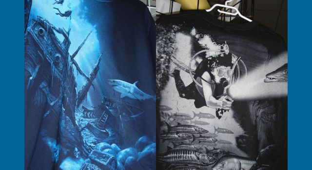 """Shipwreck"" and ""Barracuda"" shirts"